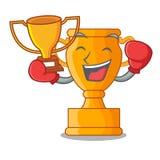 Кладя в коробку чашка трофея победителя золотая изолированная на талисмане иллюстрация вектора