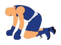 кладя Нокдаун, подсчитывая вектор боксера на том основании бесплатная иллюстрация