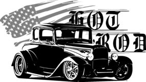 Классики горячей штанги, оригиналы hotrod, громко и быстрое оборудование гонок, автомобиль горячих штаног, автомобиль старой школ иллюстрация штока