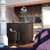 классицистическая просторная квартира New York кухни детали иллюстрация вектора