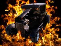 Классицистические пламена автомобиля автомобиля горячей штанги сбора винограда Стоковое Изображение RF
