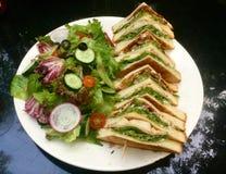 классицистический сандвич клуба свежий зеленый салат Американский гурман стоковая фотография rf