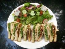 классицистический сандвич клуба свежий зеленый салат Взгляд сверху стоковые изображения