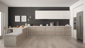 Классическая современная кухня с деревянными деталями и полом партера, mi бесплатная иллюстрация