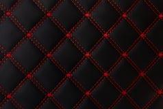 Классическая черная и красная кожаная циновка с прямо шить ногу мягкой машины текстурировала дело предпосылки концепции собрания стоковая фотография rf