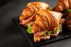 Классические сандвичи круассана BLT стоковое фото rf