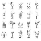 Классические спиртные знаки коктейлей чернят тонкую линию набор значка r иллюстрация вектора