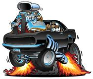 Классический автомобиль мышцы хлопающ Wheelie, огромный двигатель Chrome, сумасшедший водитель, иллюстрация вектора мультфильма иллюстрация штока