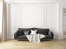 Классический белый интерьер с софой Стоковое фото RF