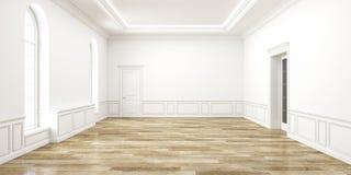 Классический белый пустой интерьер космоса иллюстрация 3d представляет Стоковая Фотография RF