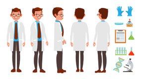 Классический вектор ученого Эксперимент по науки Исследование и исследование Биологический работник лаборатории Плоский шарж иллюстрация штока