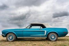 Классический голубой Ford Мustang на дисплее стоковое фото