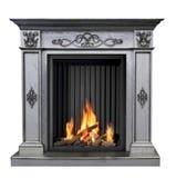 Классический горящий камин изолированный на белой предпосылке стоковые изображения