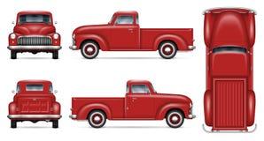 Классический красный модель-макет вектора грузового пикапа бесплатная иллюстрация