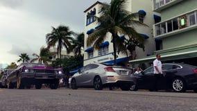Классический привод Майами океана прогара автомобиля сток-видео