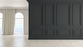 Классический пустой интерьер с черной стеной, деревянным полом, окном и занавесом иллюстрация 3d представляет Стоковое Изображение
