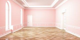 Классический розовый интерьер космоса розового кварца пустой иллюстрация 3d представляет Стоковое Фото