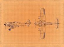 Классический самолет войск - ретро светокопия иллюстрация вектора