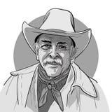 Классический старый западный ковбой стиля с шляпой и bandana Стиль эскиза шаржа иллюстрация штока