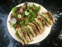 Классический сэндвич клуба со свежей верхней частью салата стоковые изображения rf