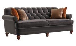 Классический цвет коричневого цвета софы при оранжевые подушки изолированные на белой предпосылке Стоковое фото RF