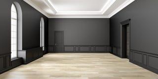 Классический черный пустой интерьер космоса иллюстрация 3d представляет Стоковые Изображения