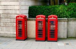 3 классических красных переговорной будки в Лондоне Стоковые Изображения