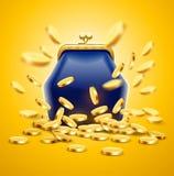 Классическое винтажное роскошное портмоне с деньгами золотых монеток Стоковые Изображения