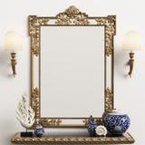 Классическое зеркало на стене Лампы стены, вазы, коралл иллюстрация штока
