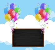 Классн классный с красочными воздушными шарами в небе Стоковое Изображение RF