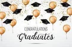 Класс градации 2018 Студент-выпускники поздравлениям Академичные шляпы, confetti и воздушные шары Торжество иллюстрация штока