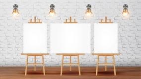 Класс для курса художника с вектором оборудования иллюстрация штока