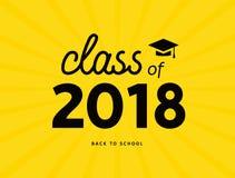 Класс постдипломной академичной иллюстрации 2018 Образование 2018 символа значка диплома коллежа Стоковые Фото
