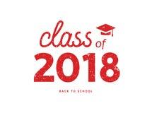 Класс постдипломной академичной иллюстрации 2018 Образование 2018 символа значка диплома коллежа иллюстрация штока
