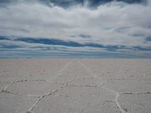 01 06 2000 класть слоя озера Боливии de расстояния женских уединённых над водой uyuni путника соли salar тонко гуляя Стоковые Изображения RF