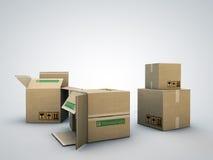 кладет картон в коробку Стоковое Изображение