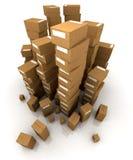 кладет кучи в коробку картона огромные Стоковое Фото