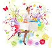 кладет счастливую покупку в мешки Стоковое Изображение