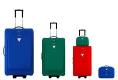кладет цветастые чемоданы в мешки Стоковые Фото