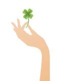 клевер 4 вручает листья Стоковые Изображения RF