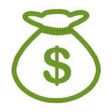 Клевер 4 листьев доллара подписывает внутри икону мешка денег Стоковые Фото