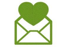 Клевер 4 листьев открытой иконы габарита с большим сердцем Стоковые Изображения