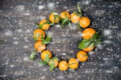 Клементин Tangerines с листьями на деревянном столе Стоковое Изображение RF