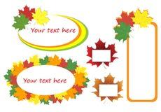 Кленовые листы осени, комплект знамен Стоковое Изображение