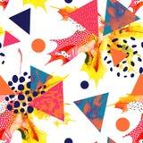 Кленовый лист акварели, треугольники с минимальной, текстуры grunge, брызгает иллюстрация штока