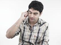 клетка его говорить телефона человека Стоковые Изображения