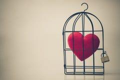 Клетка птицы с красным сердцем внутрь Стоковая Фотография