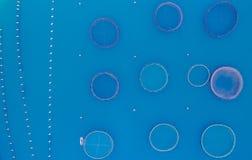Клетки для вида с воздуха сельского хозяйства рыб стоковая фотография
