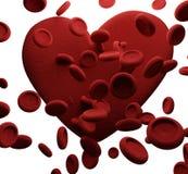 Клетки крови 3D-Illustration сердца Стоковое фото RF