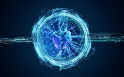 клетки нейрона 3d иллюстрация вектора